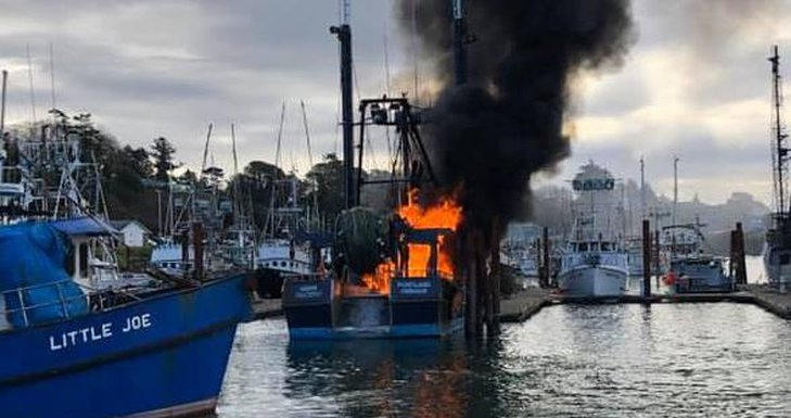 Brookings Harbor Boat Fire